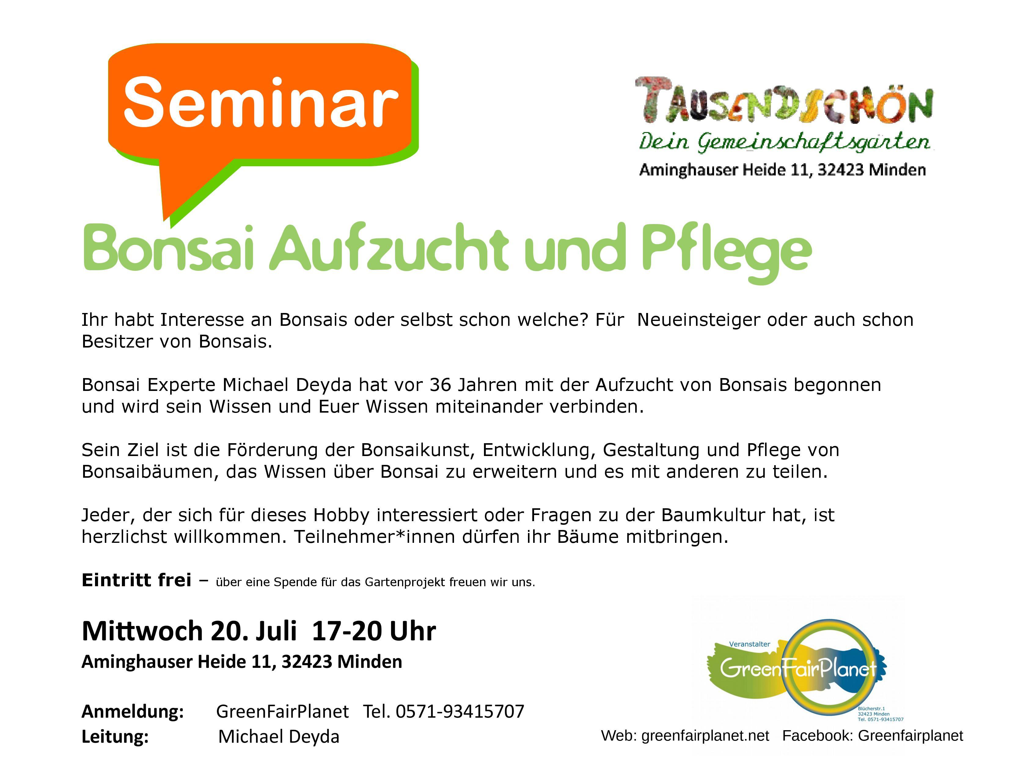 Seminar Bonsai Aufzucht und Pflege