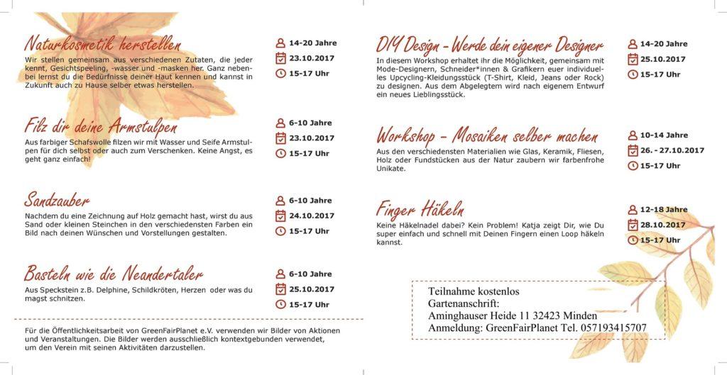 Programm Herbstferien