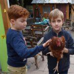 Jungen mit Huhn im Treffpunkt